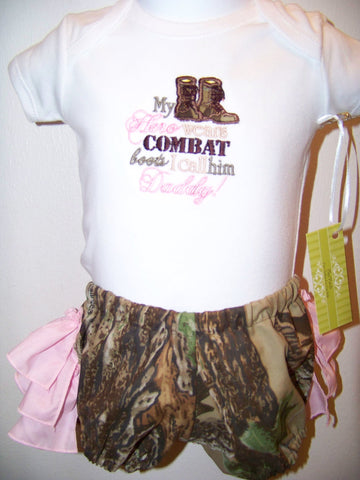 my hero wears combat boots ruffle bottom diaper cover  set DM Custom boutique Camo two piece ruffle butt camoflauge ruffle bloomer