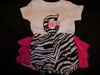 custom boutique personalized zebra ruffle butt diaper cover bloomer  ruffled bottom