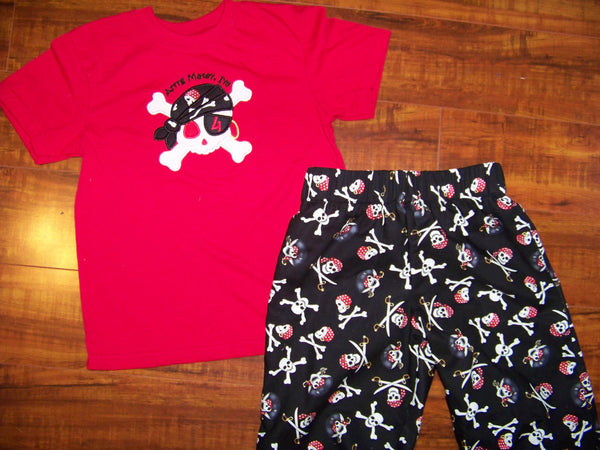 DM Custom Boutique boys applique pirate skull cross bones birthday two piece personalized short set