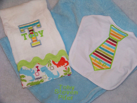 DM Custom Boutique personalized baby boys gift set blanket burp cloth and bib