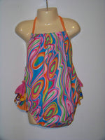 boutique bright and fun summer halter bubble romper ruffled bottom sunsuit