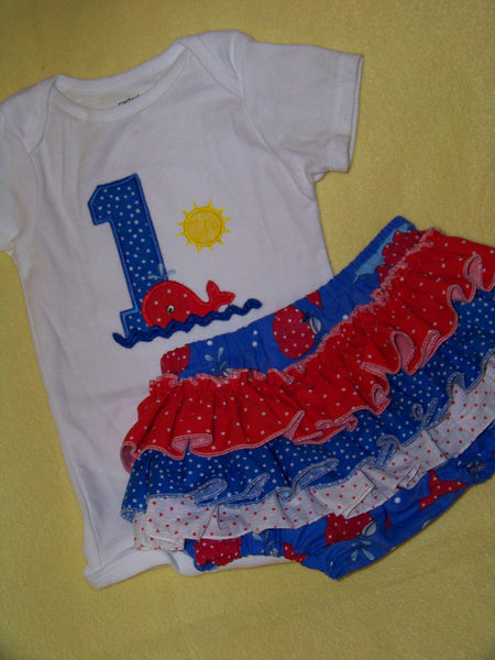 DM custom boutique red white and blue girls birthday whale ruffle bottom set personalized ruffled butt set