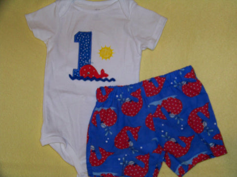 DM custom boutique birthday boy red white and bue whale two piece personalized short set