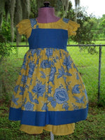 DM boutique three piece knot dress set yellow and blue floral and polka dot back to school dress set