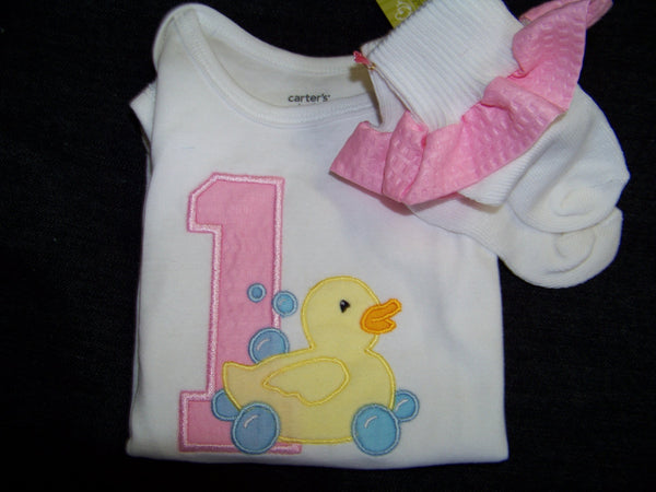 DM custom boutique rubber duck duckie birthday shirt and matching socks