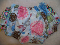 DM boutique blue,pink,brown,green flowered ruffled bloomer diaper cover bottom
