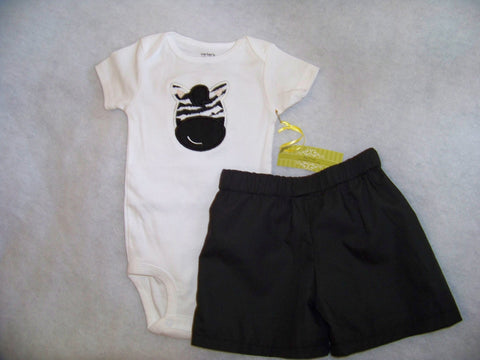 custom boutique zebra boys shorts set