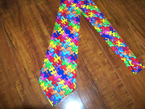 Autism Awareness puzzle piece mans necktie mens boutique tie