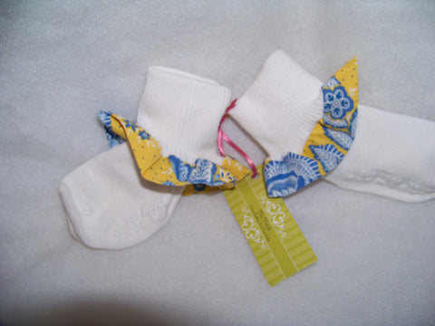 yellow and blue polka dots and flowers ruffled boutique ruffle socks