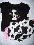 birhtday girl cow print personalized two piece boutique ruffle bottom ruffled butt diaper cover set outfit