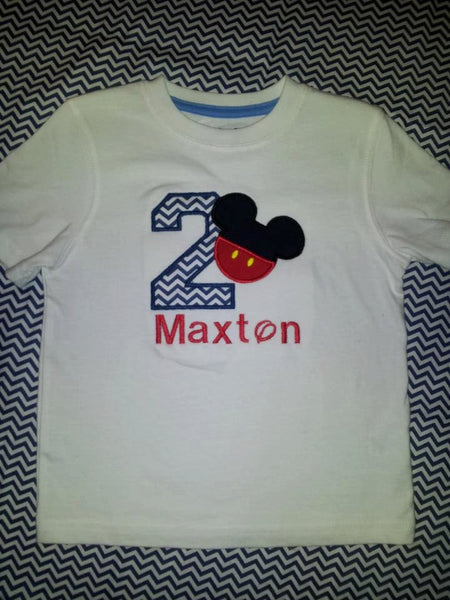 Personalized Mr Mouse Birthday Shirt Chevron Print Mickey Inspired