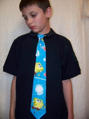 kids sponge bob square pants custom boys tie necktie