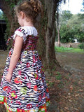 DM custom boutique peace heart zebra two piece dress and peasant top set