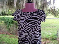 DM custom boutique zebra print girls peasant top made to order shirt