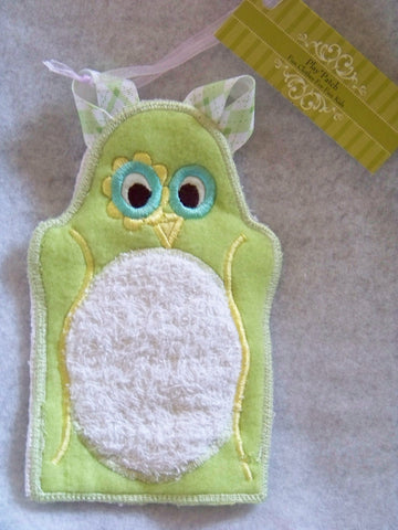 owl child sized bath mit puppet terry cloth and fleece