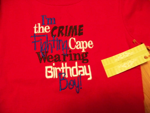 crime fighting birthday boy custom boutique DM  birthday shirt