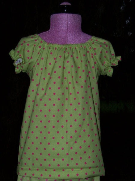 green and pink polka dot peasant top