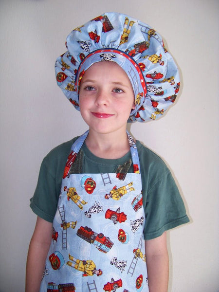 firefighter chef hat fire engine and dalmations child sized chefs hat