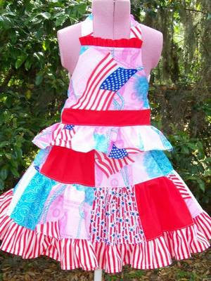 boutique red, white, blue, pink 4th of July two piece twirl skirt and halter top flag set