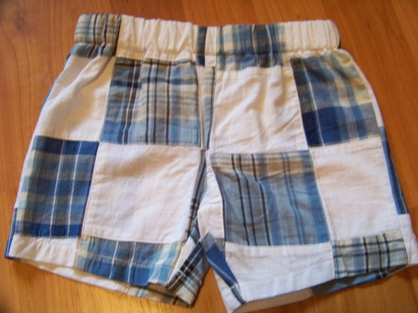 custom boutique boys madras plaid shorts patchwork children shorts