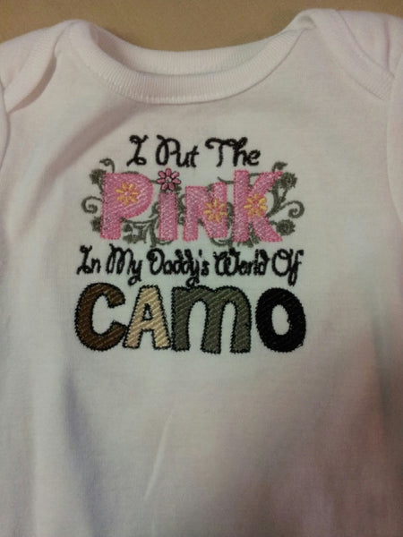 I'm the pink in Daddy's word of camo custom boutique embroidered t shirt tshirt