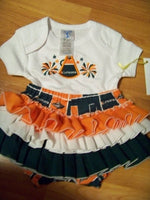 hurricanes two piece ruffle bottom set miami cheerleader diaper cover ruffled bottom