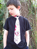 custom boutique child sized tie features hearts dogs and cats necktie