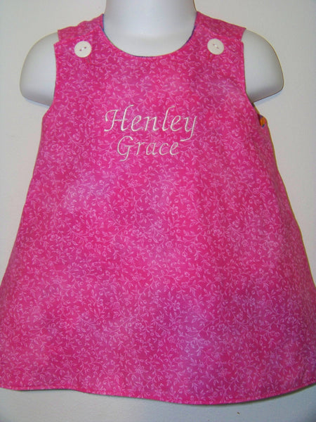 DM custom boutique reversible personalized girls aline dress