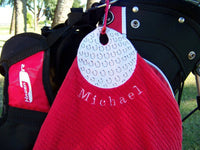golf towel personalized  perfect for your man or little guy or woman to hang on a golf bag sports towel