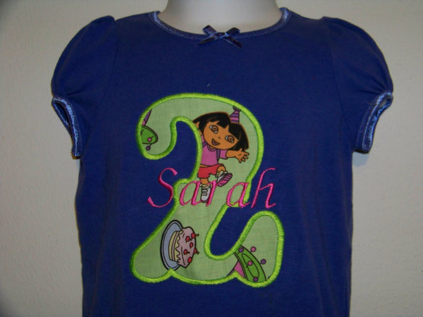 Custom boutique personalized dora the explorer birthday shirt