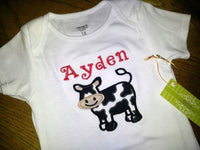 custom boutique dm personalized cow shirt  for boys girls infants and toddlers