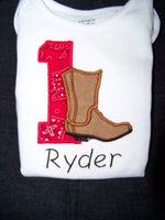 Custom boutique DM cowboy boot birthday personalized shirt