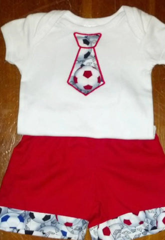 boys soccer tie outfit two piece custom boutique set your choice bue red or black shorts