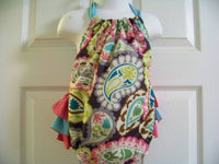 ruffle bottom paisley grey teal brown pink  baby bubble romper halter sunsuit