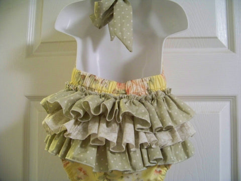 baby bubble  heirloom ruffled bottom halter bubble romper