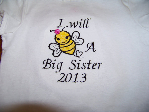Pregnancy announcement I will be a big sister t shirt I will bee a big sister personalized with the year