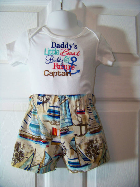 NaNa PaPa Daddy or Mommy little boat buddy future captain two piece custom made boys sailboat outfit boat set