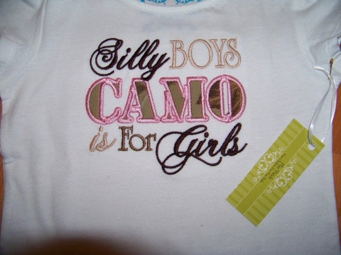 silly boys camo is for girls shirt camoflauge baby toddler tshirt playpatch