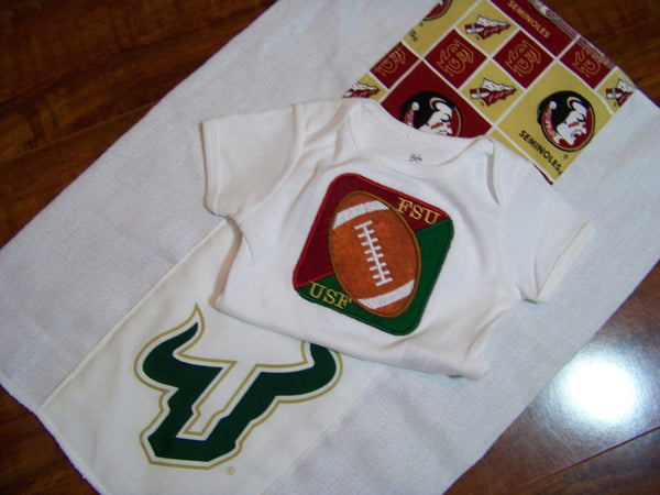 USF FSU house divided football oneise and burp cloth two piece set bulls and seminoles divided house baby shower burpcloth gift set