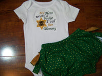 My Hero Wears a Badge Sheriff two piece baby girl ruffle bottom Set