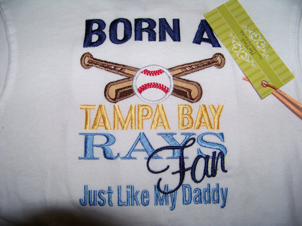 Baseball Fan t-shirt born a tampa bay ray's fan like my daddy mommy uncle aunt papa nana