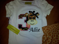 Personalized Birthday Giraffe shirt girls party shirt animal safari birthday tshirt