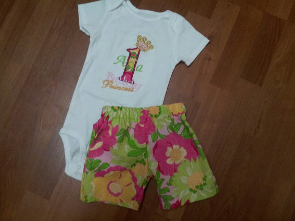 personalized birthday princess pink green and yellow flower shorts two piece princess crown birthday party set