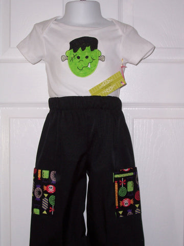 Frankenstein two piece personalized  halloween shirt pants set Halloween candy two piece outfit