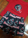 Black and Red Buccaneers Football personalized two piece Bucs shirt and shorts set
