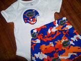 Orange and blue Florida Gator camo short set camoflauge UF boys football shorts shirt