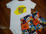 Some Daddy's wears suit construction set boys hard hat dump trucks shorts and  shirt