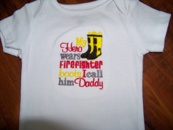 My Hero Wears Fire Fighter Boots t shirt  Firefighter Shirt Volunteer Fireman Fire Fighter