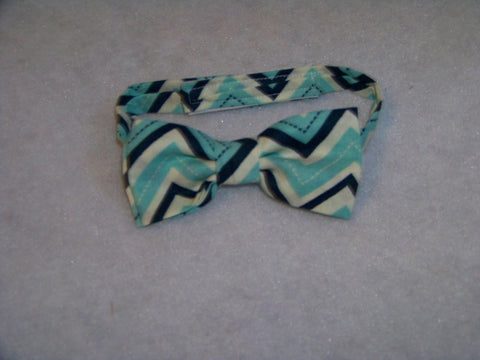 aqua and blue chevron child sized bowtie dress up bow tie