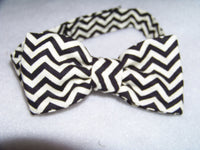 black and white chevron child sized bowtie dress up bow tie